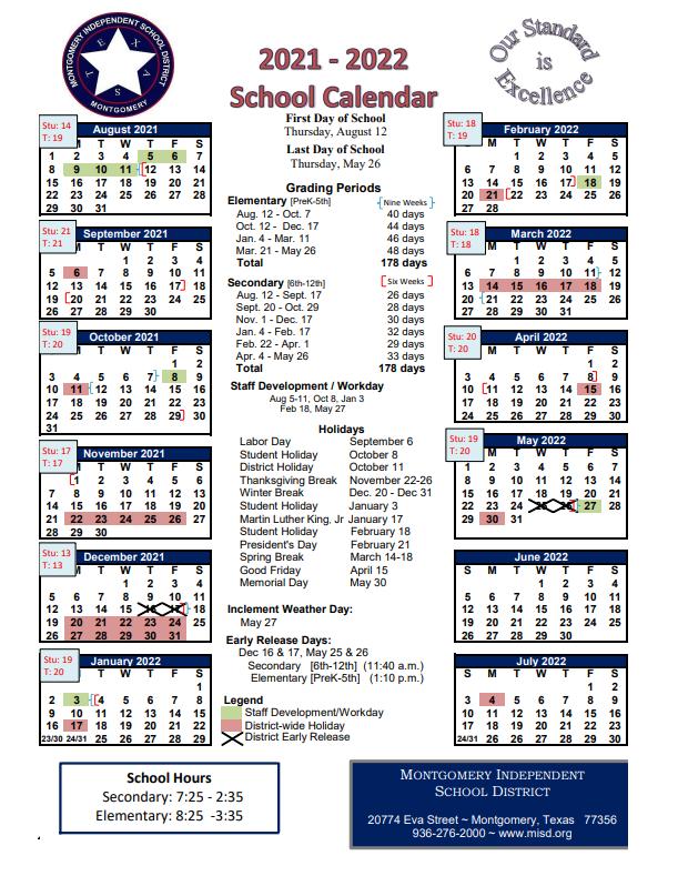 Montgomery College Academic Calendar 2021-22 Pictures